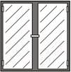 Einbausatz Flügeltür 2-geteilt in Rahmen 640 x 430